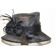 Hats black with flower decoratie