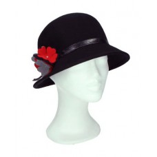 Cloche hat black with little red flower