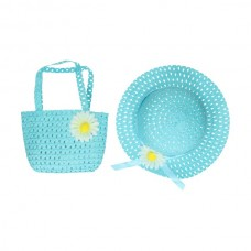 Hat and bag with flower blue