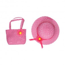 Hat and bag with flower pink